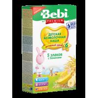 Каша Bebi Premium 5 злаков с бананами безмолочная, с 6 месяцев, 200 гр