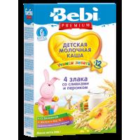 Каша Bebi Premium 4 злака со сливками и персиком молочная, с 12 месяцев, 200 гр