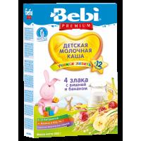 Каша Bebi Premium 4 злака с вишней и бананом молочная, с 12 месяцев, 200 гр