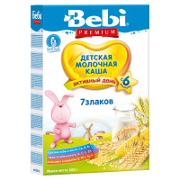 Каша Bebi Premium 7 злаков молочная, с 6 месяцев, 200 гр
