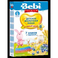 Каша Bebi Premium 7 злаков с черникой молочная, с 6 месяцев, 200 гр