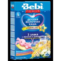 Каша Bebi Premium 3 злака с яблоком и ромашкой молочная, с пребиотиками, с 6 месяцев, 200 гр
