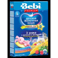 Каша Bebi Premium 3 злака с малиной и мелиссой молочная, с пребиотиками, с 6 месяцев, 200 гр