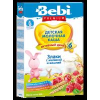 Каша Bebi Premium 5 злаков с абрикосом и малиной молочная, с пребиотиками, с 6 месяцев, 200 гр