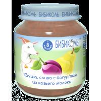 Пюре Бибиколь Груша, слива с йогуртом из козьего молока, 125 гр