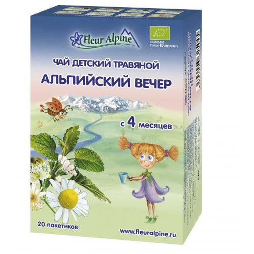 """Детский чай Fleur Alpine травяной """"Альпийский вечер"""" c 4 месяцев"""