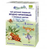 Детский чай Fleur Alpine травяной ягодно-фруктовый с липовым цветом, c 5 месяцев