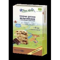 """Детское печенье Fleur Alpine Organic """"Бельгийское с кусочками шоколада"""" с 3-х лет"""