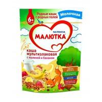 Каша Малютка мультизлаковая с малиной и бананом молочная, с 6 месяцев, 220 гр