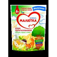 Каша Малютка мультизлаковая с фруктами молочная, с 6 месяцев, 220 гр