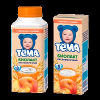 Тёма Биолакт с персиком и злаками, с 8 месяцев, 206 гр